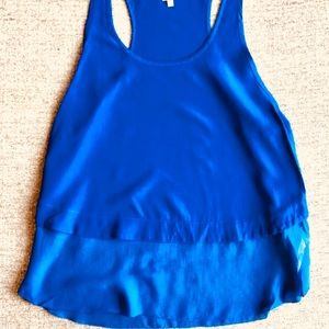 100% silk Wilfred top in royal blue from Aritzia